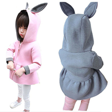 Girls Coats Hoodied Jackets Bunny Spring Autumn Baby Air-Cotton Fashion Cute Pink Christmas-Gift