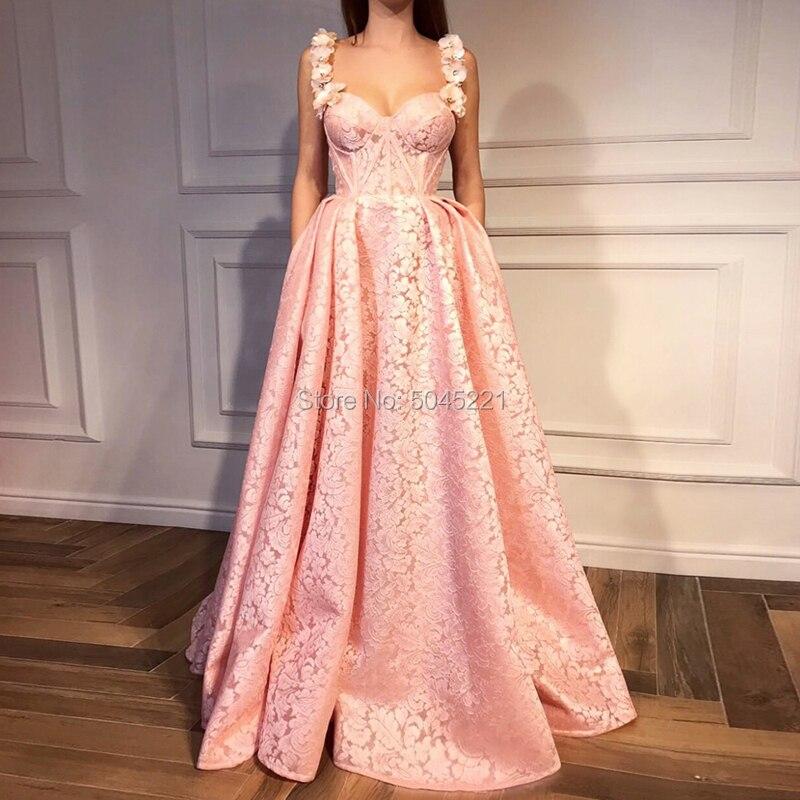 Robes de bal en Satin rose 2019 une ligne chérie fleurs fête robes de soirée formelles robes Vestido Formatura Longo arabe dubaï