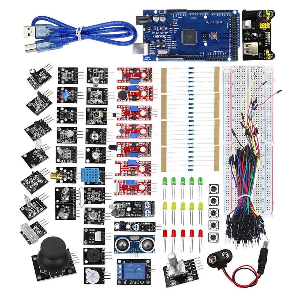 Новый 37in1 Сенсор комплект Мега 2560 R3 HC-SR04, MB-102 MB102 Тесты развивать 37 в 1 Сенсор DIY для Arduino Совместимость с МЕГА 2560