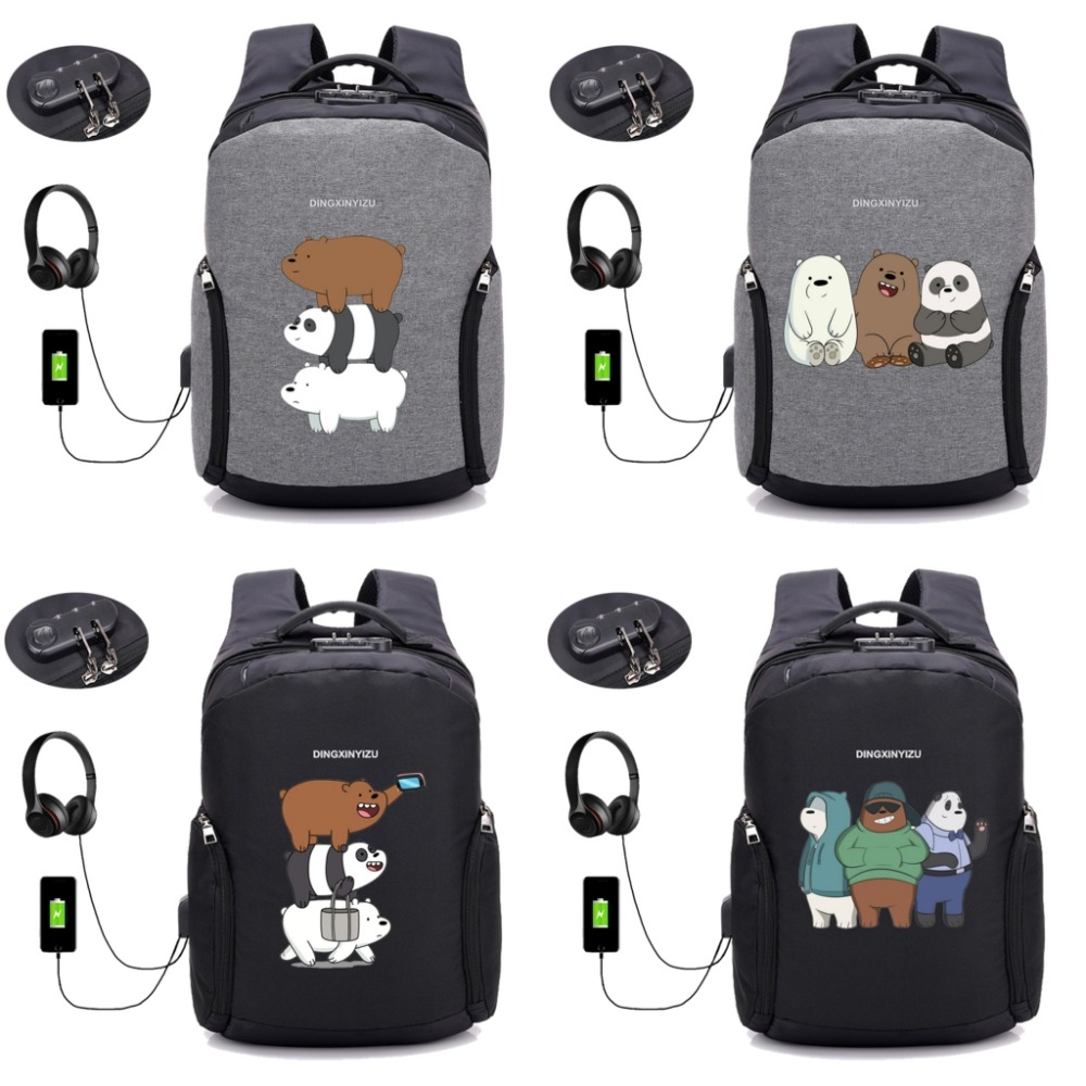 anime We Bare Bears backpack Anti Theft Usb Charging Laptop Waterproof backpack Shoulder Travel Bag Unisex Knapsack 8 style цена и фото