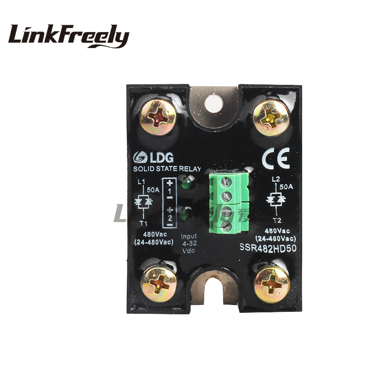 цена на SSR482HD50 50A input4-32VDC output 24-480VAC two loop circuit Solid State Relay LED indication SSR electrical relay 2pcs