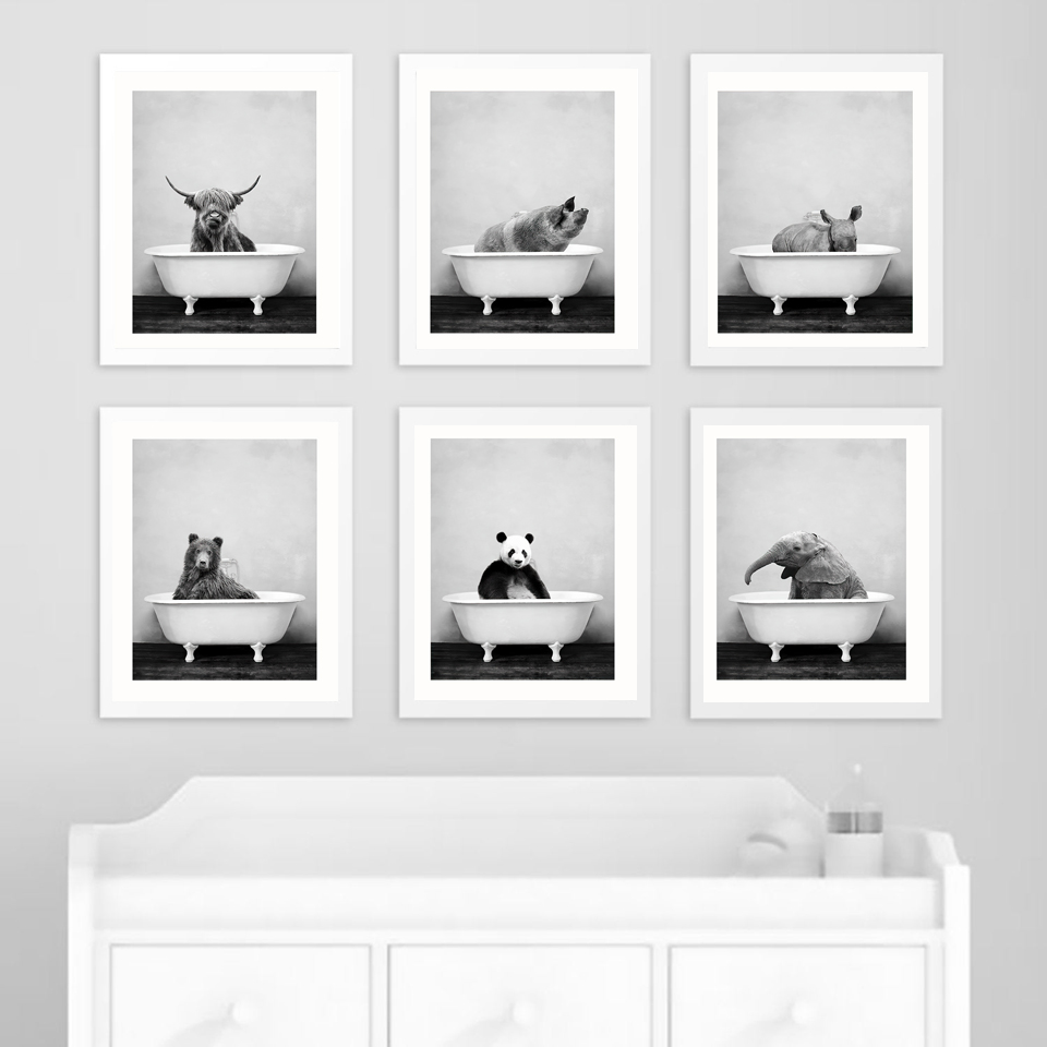 Baby Animal in Bathtub Poster Panda Giraffe Elephant Lion Pig Cow Canvas Painting Nursery Wall Art Nordic Picture Kid Room Decor in Painting Calligraphy from Home Garden