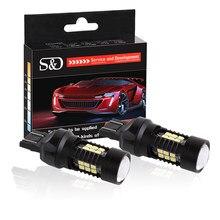 Feux antibrouillard LED 1200Lm T20 7443 7440 W21/5W, 2 pièces, rouge ambre, pour voiture, clignotant, stop, Parking