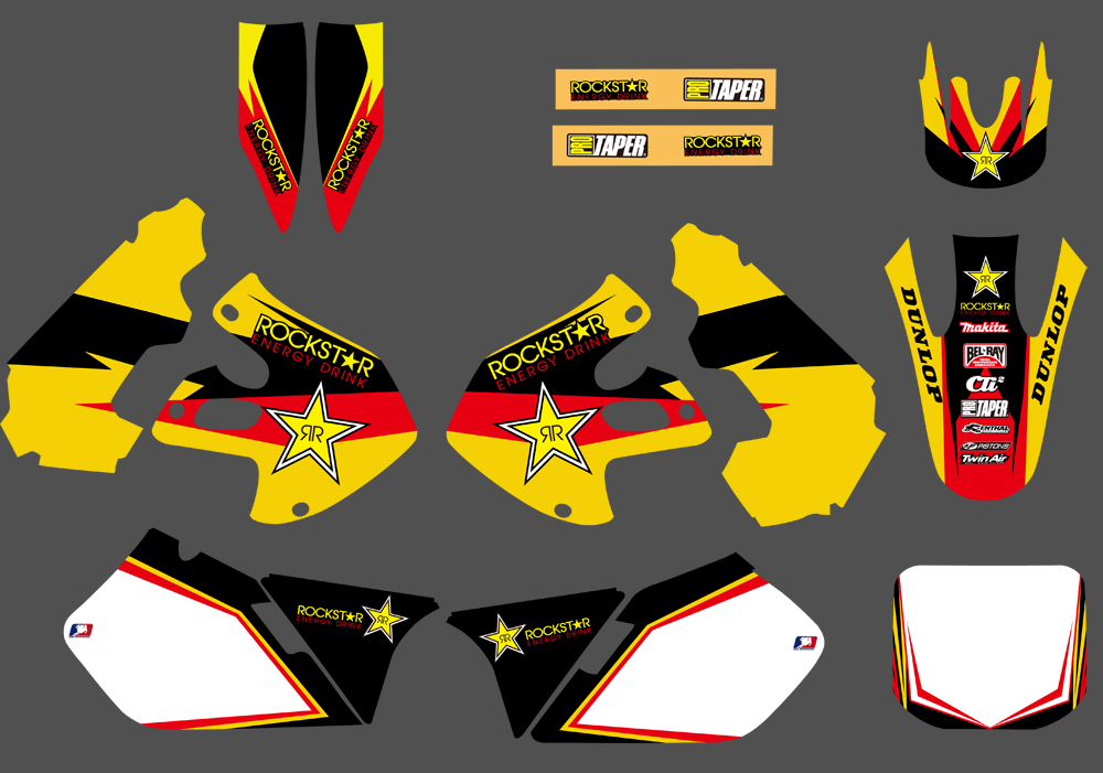 H2CNC Motorcycle Graphics Background Decal Sticker For Suzuki RM125 RM250 1999 2000 RM 125 250
