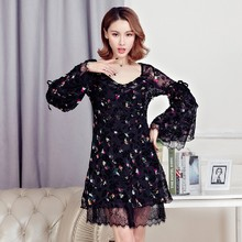 2017 New Fashion Spring Summer Women's Clothing Flowers Printing Lace Patchwork Dress Flare Long Sleeves V-neck Dresses Female
