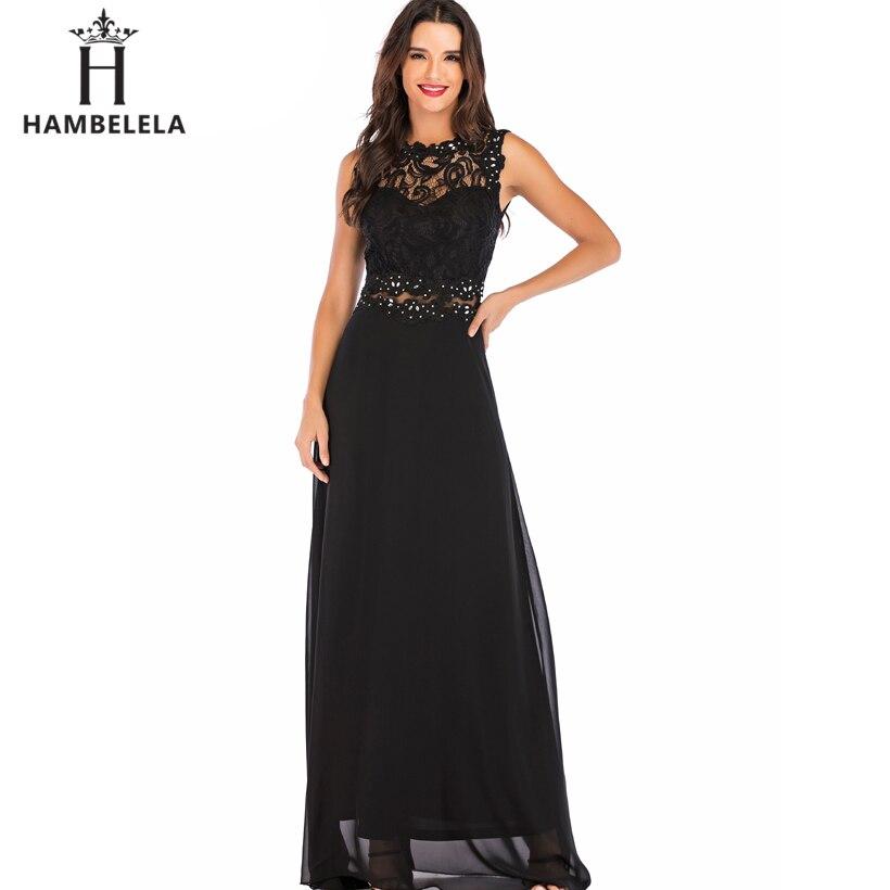 9d4e5b0e8dcf HAMBELELA Sleeveless Summer Dresses Women 2019 Spring Black Lace Long Dress  Slim Sexy Elegant Chiffon Wedding