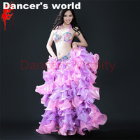 Women Belly Dance Clothing Bra+Belt+Satin Curling Skirt 3pcs Lady Belly Dance Performance Suit Girls Dance Clothes SML B/C Cup