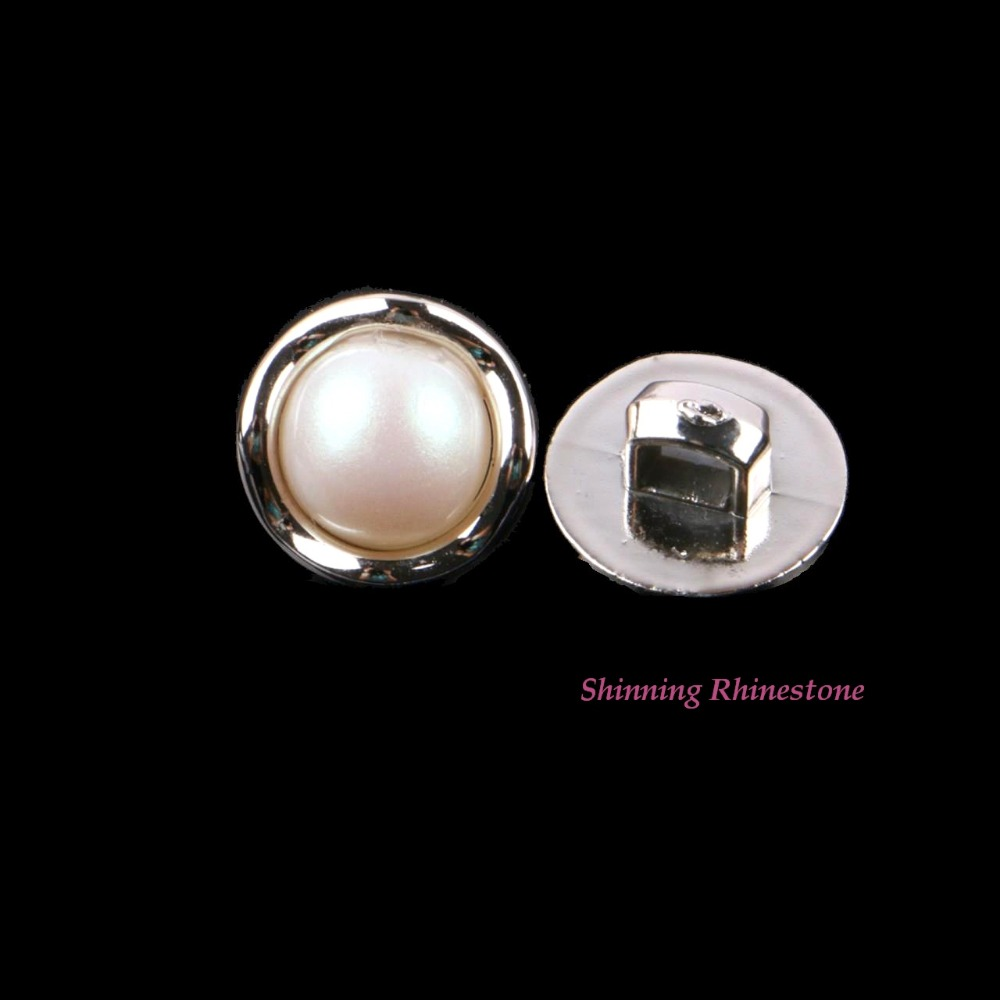 30pcs DIY Gold Plated Rim Imetated Pearl Sew On Clothes Buttons Sewing On Garment Button Dress Decoration Accessories 11.2mm