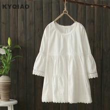 c33e73c9301 KYQIAO Plus size women clothing female autumn summer Japanese style  bohemian sweet o neck white a-line blouse blusa top