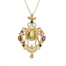 gemstone fine jewelry factory new-designed  925 sterling silver yellow crystal citrine blue topaz necklace pendant for female цена