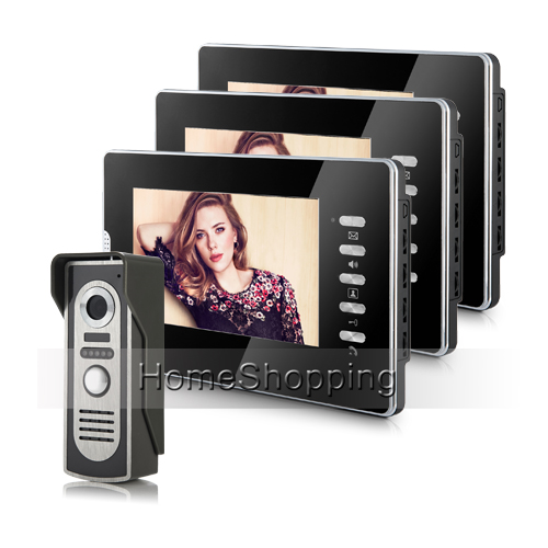 FREE SHIPPING Wired 7 inch Color Video Intercom Door Phone System 3 Monitor + 1 Waterproof Doorbell Camera In Stock Wholesale free shipping wired home security 7 inch color video intercom door phone system 2 monitor 1 doorbell camera in stock wholesale