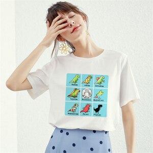 Harajuku Aesthetic Tshirt Women Cotton 2019 Funny T-Rex Art T-shirt Female Short Sleeve Sexy T Shirt Tumblr Plus Size Tops Tees