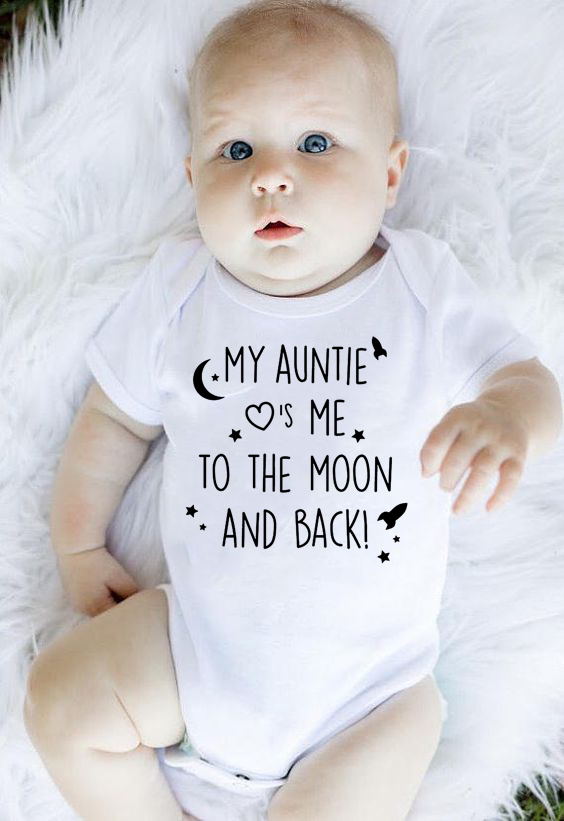 My Auntie Take Me To The Moon And Back Print Baby Rompers Cotton Short Sleeve Newborn Clothing Infant Rompers Toddler Clothes