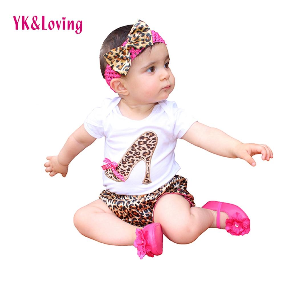 Leopard Baby Romper Set Nyfödd Sommar Style Bomull KortärmadBodysuit + Byxor + Huvudband Ruffles Baby Girl Klädsel Set