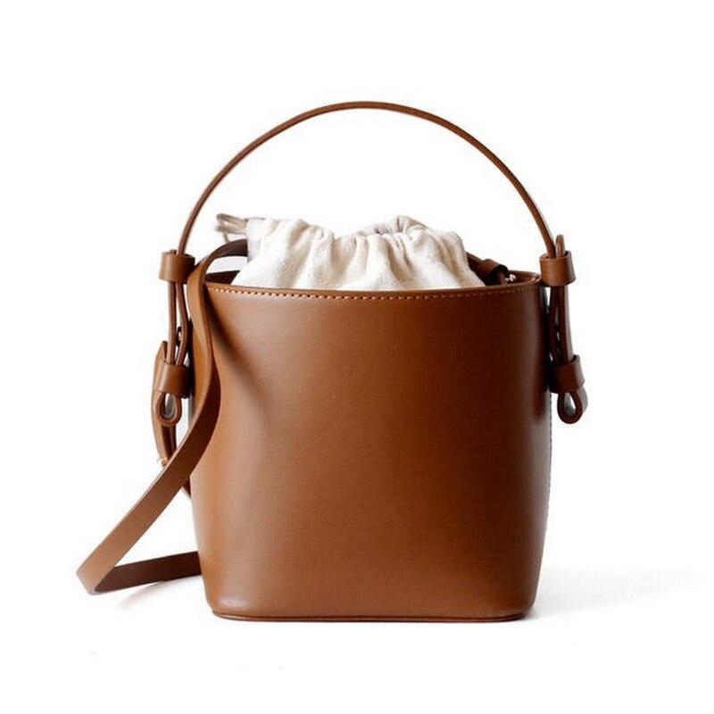 Leather Bucket Sling Bags Women Brown Basket Handbags Shoulder Bag Ladies Designer High Quality Girls Drawstring Totes Crossbody