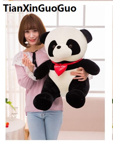 stuffed plush toy large 60cm panda  i love you  red heart panda plush toy soft doll throw pillow Christmas gift w2999 large panda in pink coat about 70cm plush toy panda doll soft throw pillow birthday gift x029
