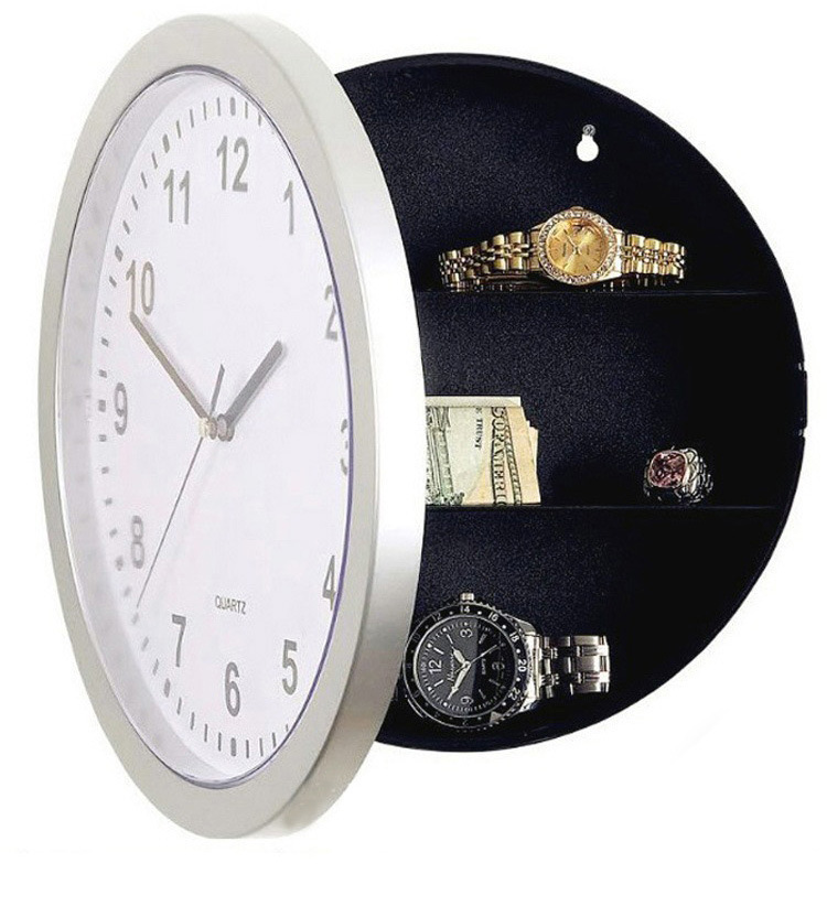 25cm Wall Clock Safe Box Creative Vintage Hidden Secret Storage Box For Cash Money Jewelry Home Office Security Clock Style Safe