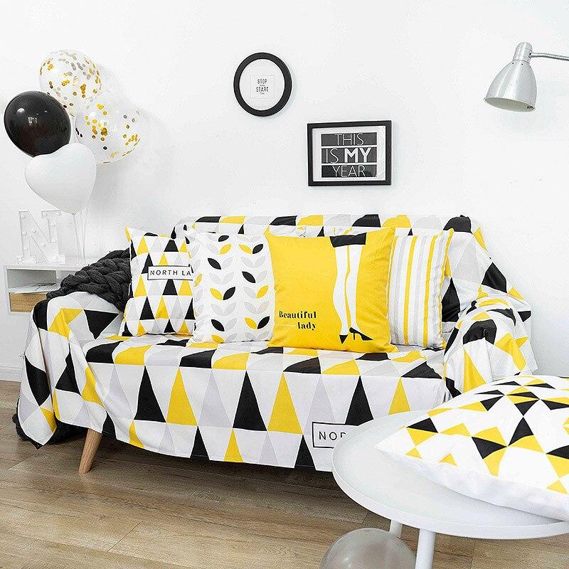 Universel jaune noir canapé serviette canapé tissu moderne minimaliste salon flanelle canapé poussière tissu housse de protection y
