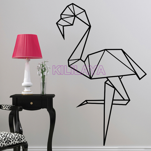 6 42 Flamingo Origami Vinyle Stickers Muraux Affiche Murale Sticker Home Decor Wall Art Papier Peint Pour Le Salon Maison Decoration Dans Stickers