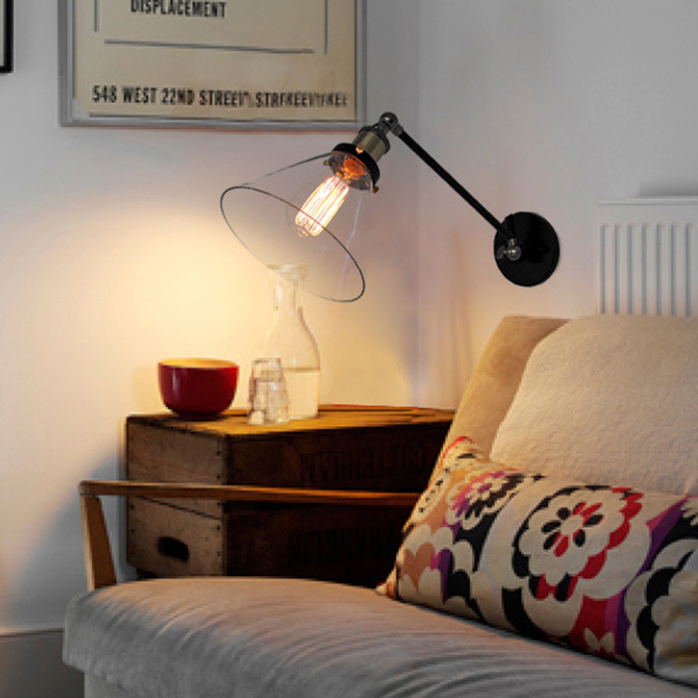 Vintage industrial loft swing arm wall sconce adjustable warehouse vintage industrial loft swing arm wall sconce adjustable warehouse ambient lighting glass lampshade wall lamp e27 edison lights in wall lamps from lights arubaitofo Choice Image
