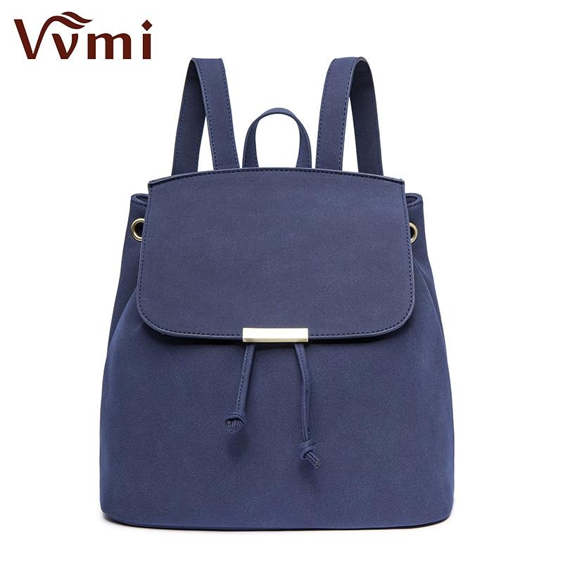 Vvmi brand 2016 new women backpack suede solid color bucket backpack girls school bag
