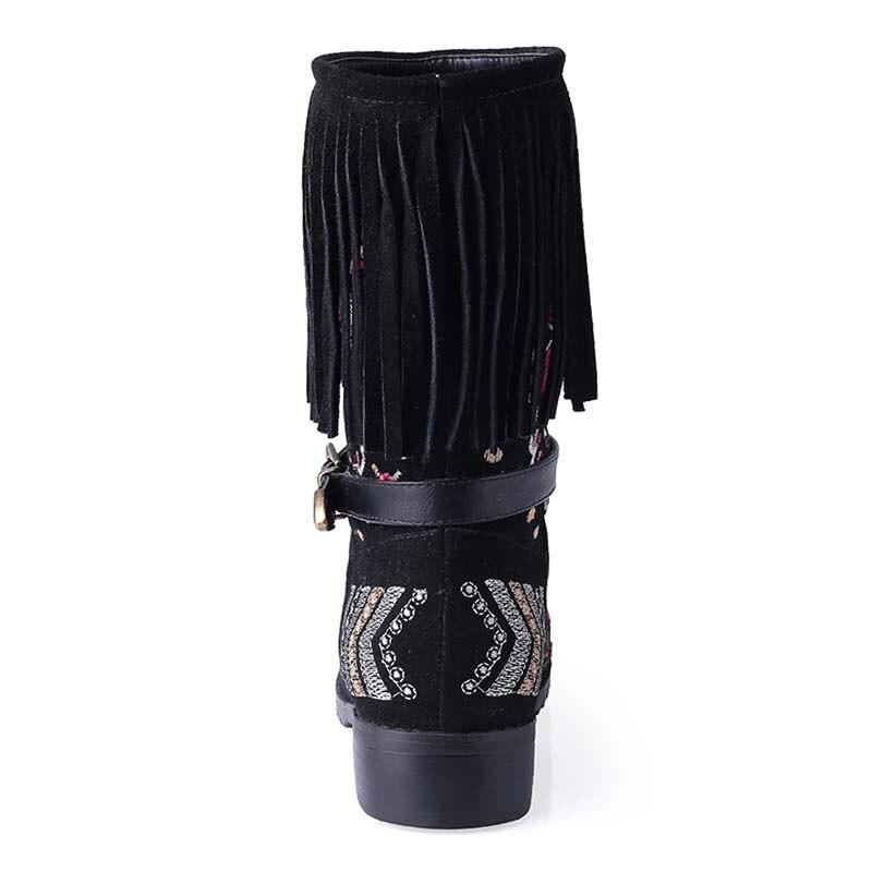 Bohême Mode Pour De Automne Chaussures Ethniques Femmes Gland Hiver Avec Véritable En Enmayer Nouvelle Noir Bottes Neige Cuir ZPOkXTui