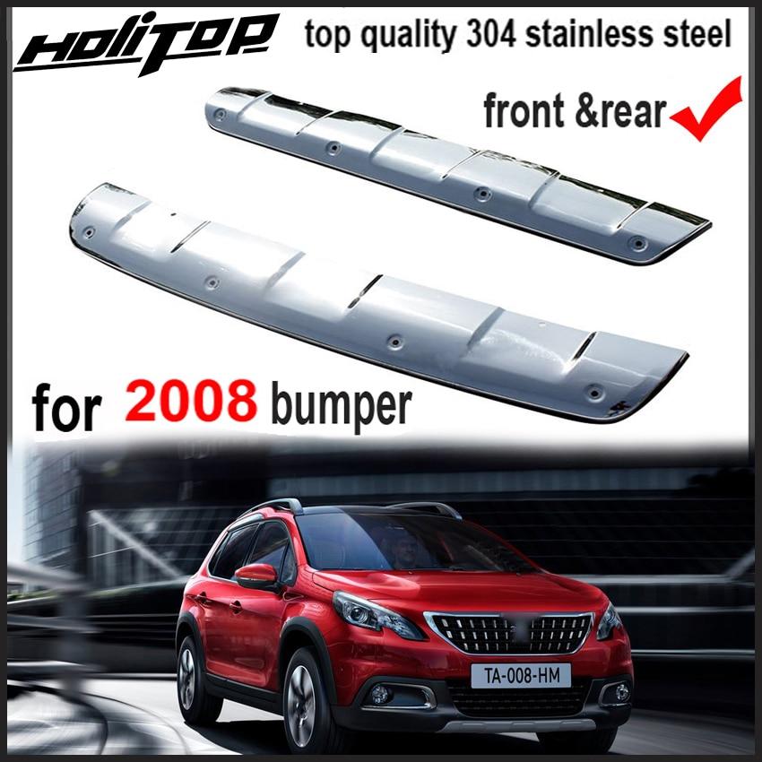 Avant et arrière couverture de butoir de dérapage plaque corps kit protection pour Peugeot 2008 2014-2017, 304 en acier inoxydable, livraison gratuite à L'asie