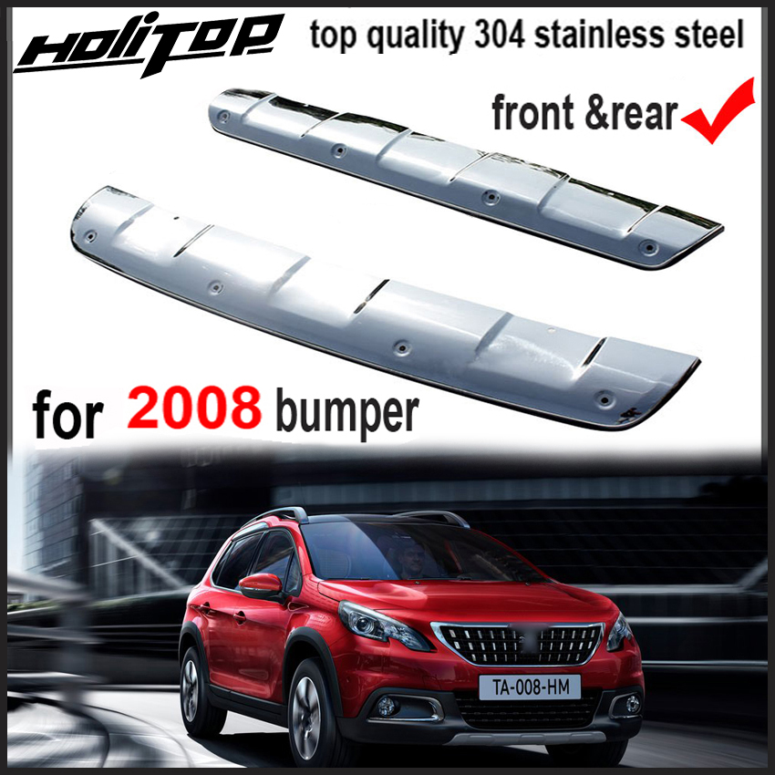 front&rear bumper cover skid plate body kit protection for Peugeot 2008 2014-2017, 304 stainless steel,free shipping to Asia