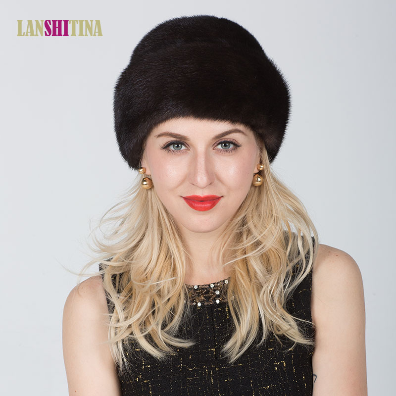 Real Mink Fur Hats Women Natural Mink Fur Cap 2017 New Style Good Quality Famle Fur Caps Russia Hot Winter Hat