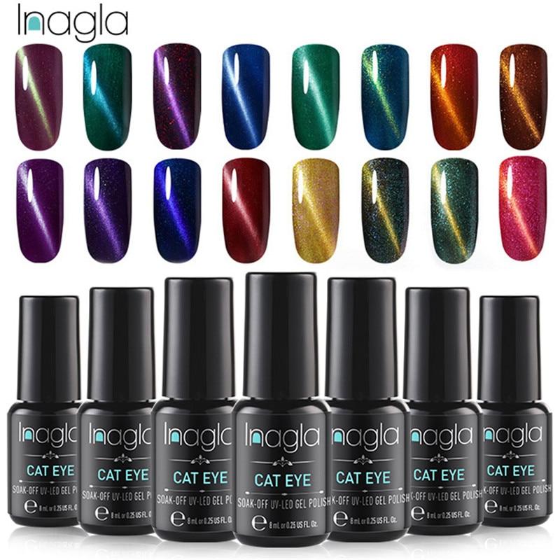Inagla 3D магнитный лак для ногтей, 8 мл, лак для ногтей кошачий глаз, магнитный лак для ногтей, Базовое покрытие, верхнее покрытие, необходимое