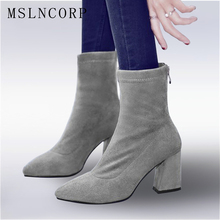 Plus Size 34-43 Women Fashion Genuine Leather Sock Boots thick high heels Shoes Spring Autumn Martin Boots Stretch Fabric Pumps недорого