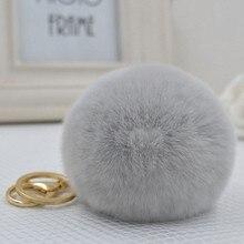 Marca Fluffy Rabbit Fur Pompom 8 cm Para Sacos & Carros Charme Bolas De Pêlo De Pele Genuína Real Natural Da Corrente Chave TKK005-grey chaveiro das mulheres