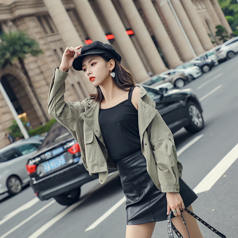 2018 Autumn New Women Casual Jackets Cotton Coat Solid Color Long Sleeve Zipper Female Windbreaker Mori Girl Slim Tops Coat