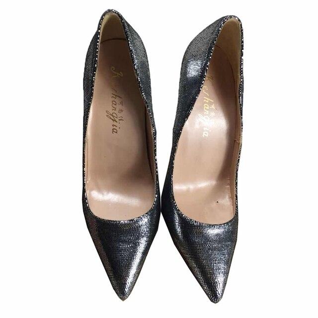 2018 Mùa Xuân/Mùa Thu mới PU da Bling Mũi Nhọn Nữ Giày cao gót bơm OL dẹt màu in hình giày