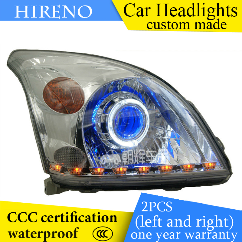 Hireno custom Modified Headlamp for Toyota Prado 2003-09 Headlight Assembly Car styling Angel Lens Beam HID Xenon 2 pcs hireno headlamp for cadillac xt5 2016 2018 headlight headlight assembly led drl angel lens double beam hid xenon 2pcs