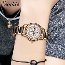 SUNKTA New Listing Top Luxury Brand Women Watches Women Ceramic Watch Female Fashion Dress Lady Girl Quartz Clock Zegarek Damsk цены онлайн