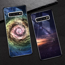 Starry sky Photo Customize Phone for Samsung Galaxy S10 caso plus case Tempered Glass Cover galaxy Lite