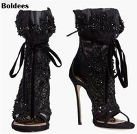 Thin High Heel Black Lace Leather Summer Sandals Boots Women Cut Out Lace Up Ankle Boots Plus Size