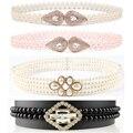 Mujeres Elegantes Perlas Cristales Cinturón Fino de Diamante Rhinestone Cadena Elástica BLTYN0009