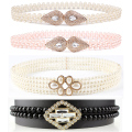 Women Elegant Beads Crystals Skinny Belt Diamante Rhinestone Elastic Chain BLTYN0009