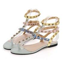 2016 neue Marke Sommer stil Strand Sandalen Schnalle Straps Sandalen mit Nieten t-riemen sommer flache schuhe Freies verschiffen
