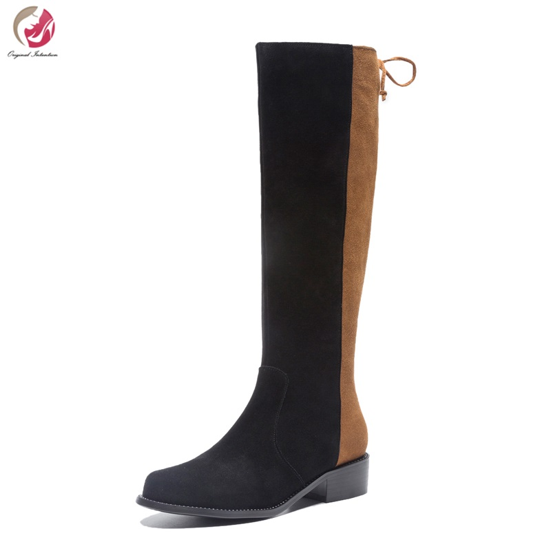 Original Intention New Fashion Women Mid-Calf Boots Stylish Patchwork Round Toe Suqure Heels Boots Shoes Woman US Size 3-10.5 stylish mid waist cuffed denim ripped shorts for women