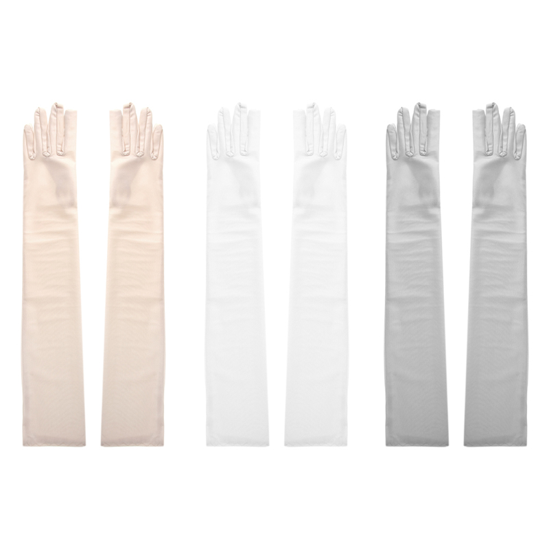 Women Lady Arm Finger Long Elbow Gloves Party Dr ess Prom Wedd ing Satin Gloves
