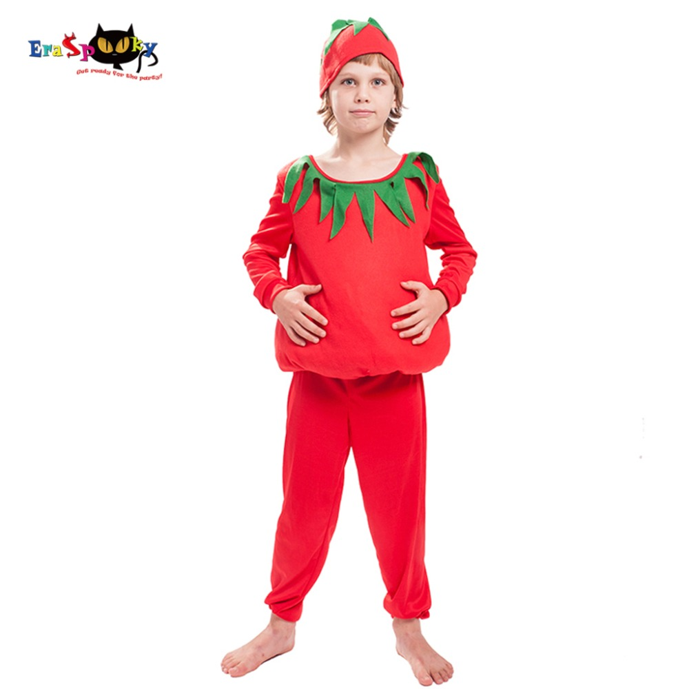 2018 Eraspooky Children Halloween Costume Boys Christmas Costume for kids Girls Red Funny Vegetables Tomato Cosplay Fancy Dress