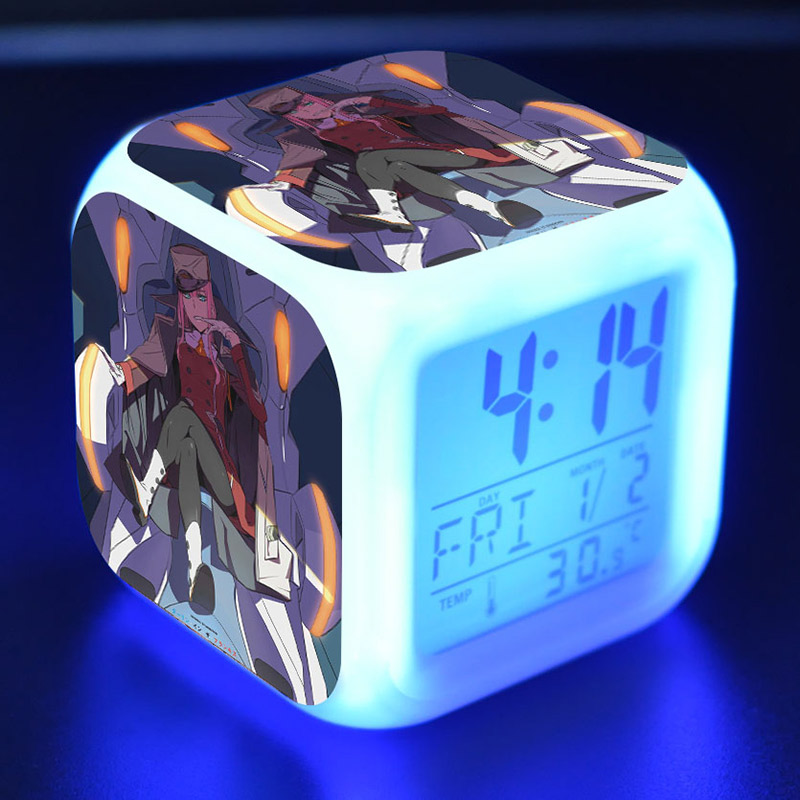 DARLING in the FRANXX Anime Figma Alarm Clock LED Colorful Flash Touch Light DitF Figurine Desk Watch Toy