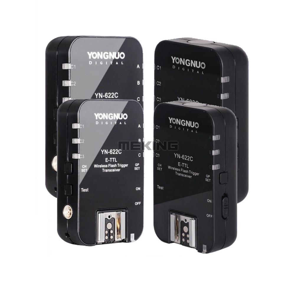 4pcs Yongnuo YN-622C Wireless HSS eTTL Flash Trigger radio 1/8000s shutter release for Canon 5D 6D 5D2 5D3 10D 60D 70D 300D 350D wired remote shutter release for canon eos30 eos33 pentax samsung more