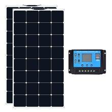 2 pcs Class A XINPUGUANG 18V 100W monoctrystalline flexible solar panel 100 Watt with 12V/24V 20A controller RV Boat kits