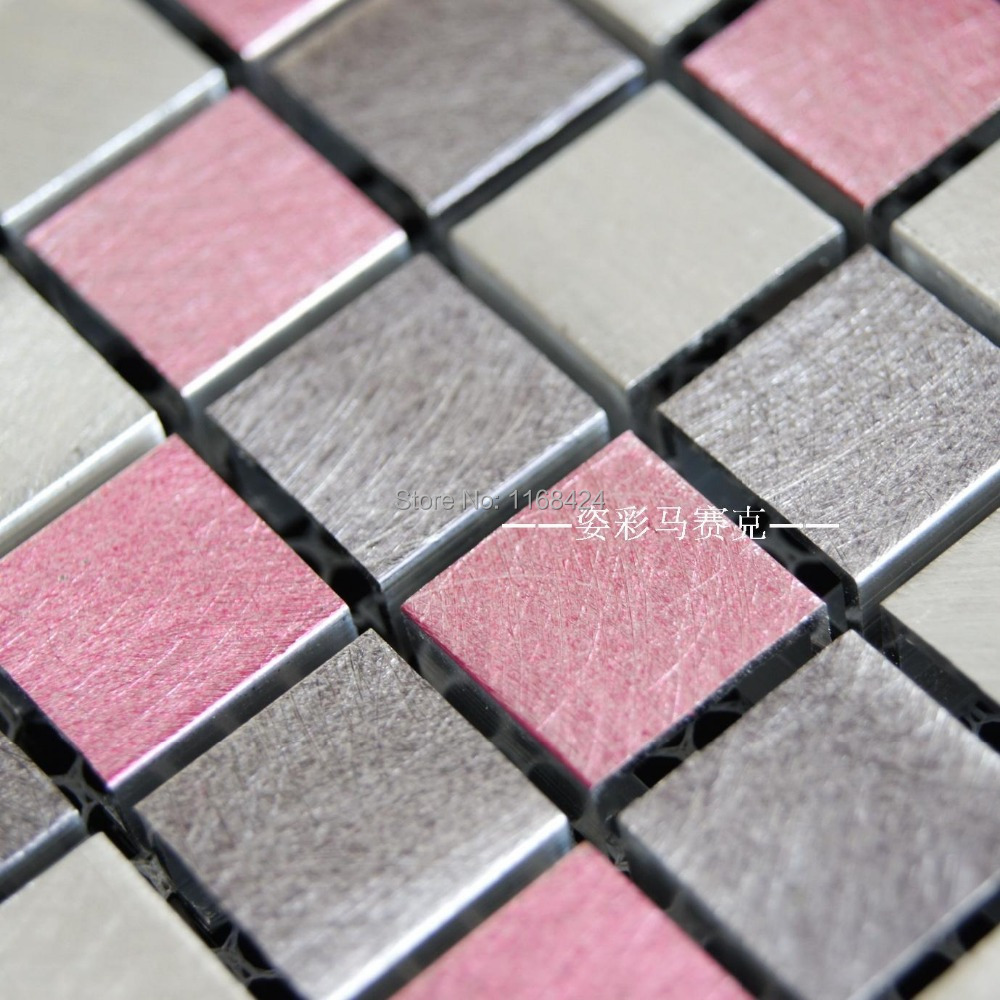 Pink Aluminum Alloy Metal Mosaic Tiles EHM1062 For Kitchen Baclesksplash  Bathroom Floor Wall Mosaic Free Shipping In Wall Stickers From Home U0026  Garden On ...
