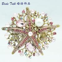 Vintage Jewelry Women jewelry Crystals Brooch Pink Starfish Brooch Broach Pin W/ Imitate Pearl Rhinestone Crystals 6412