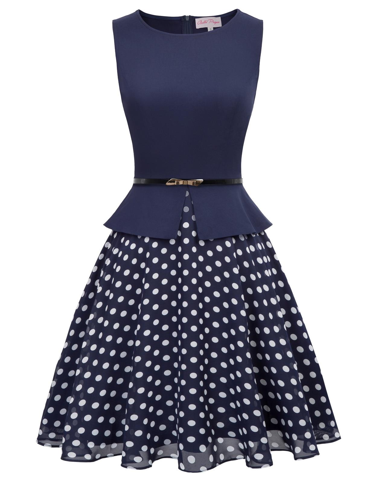 Womens SUMMER Polka Dot Hlater 50s Dress Pin Up A Line Swing Party Dress+Belt